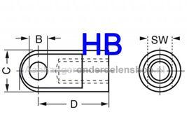 Schroefoog M8 inbouwlengte 30mm  8mm