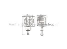 Werklamp LED L0082-Vierkant 12-24V 12W