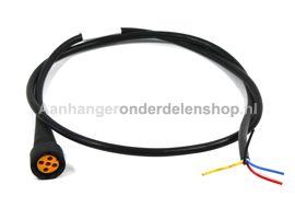 Connector Geel links 5P+2 mtr.kabel +dc